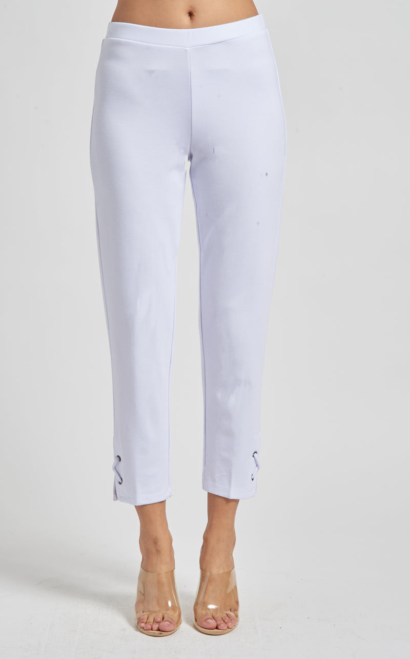 Slim Ankle Pant with Laced Trim
