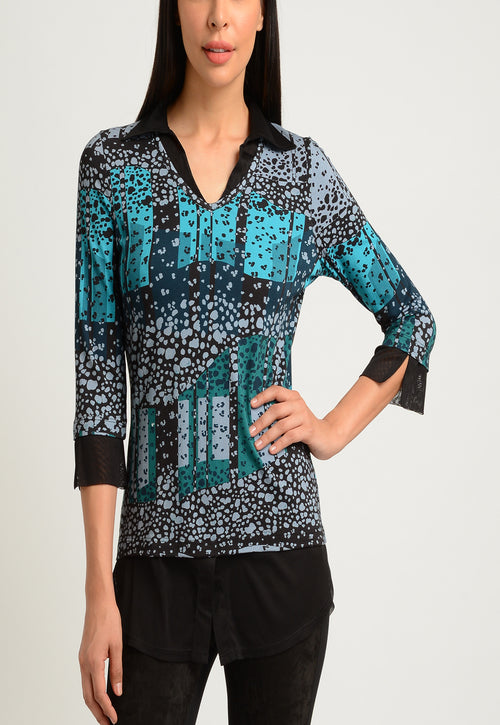 3/4 Sleeve Faux Layered Shirt
