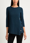 Long Sleeve ballet Neck Tunic with Asymetrical Hem