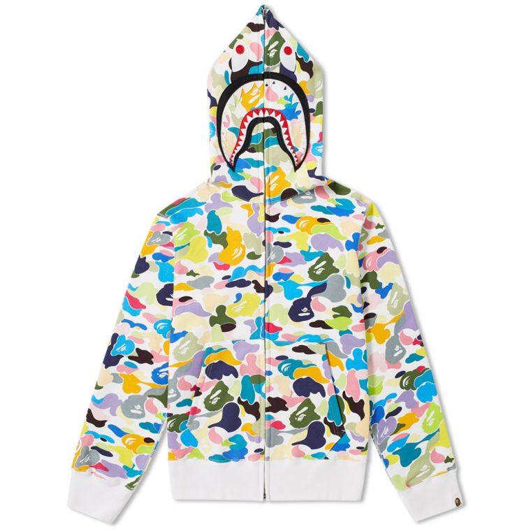 outlet store 6efe5 a1a74 A Bathing Ape Multi Camo Shark Zip Hoodie New