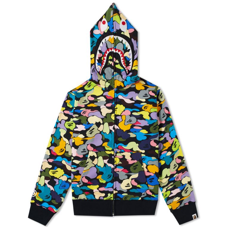 new product 3b82d e6edc A Bathing Ape Multi Camo Shark Zip Hoodie NEW