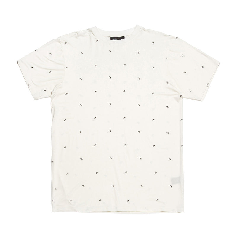 Black Scale Paisley Essential Tee White