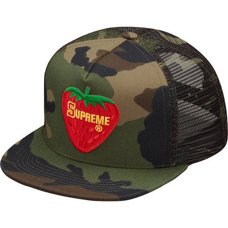 Supreme Strawberry Mesh Back 5-Panel Woodland Camo
