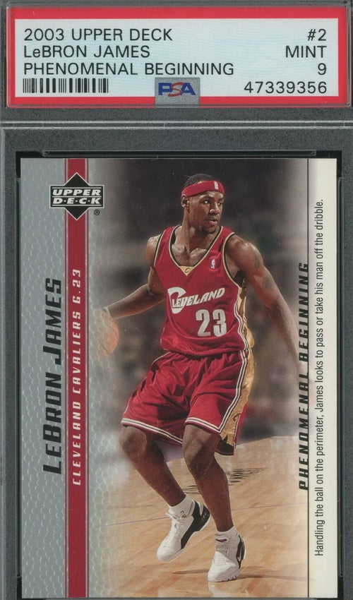 2003 Upper Deck Phenomenal Beginning #2 LeBron James Cavaliers RC Rookie PSA 9