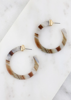 Flat Resin Hoop Earrings