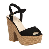 ALDEN-3 PU and Woven Block Platform Heeled Sandal