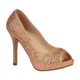 BARBARA-100 Wholesale Women's Peep Toe Pump With Rhinestones