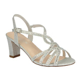 CARLA-16 Low Block High Heel with Rhinestones