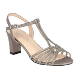 CARLA-25 Low Block Heel with Rhinestones