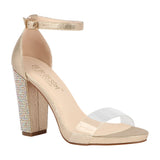 CHELSEA-25 Clear Strap High Heel with Rhinestones