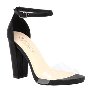 CHELSEA-29 Clear Strap Single Sole Block High Heel