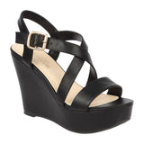 Christy-48 Ladies PU Vegan Leather Casual Strappy Wedge