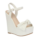 DALIA-12 PU Bow Accent High Heel Wedge