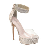 FLORA-21 High Platform Rhinestone and Clear Party Heel