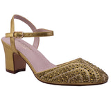 GLORIA-10 Closed Toe Sequin Low Heel