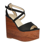 IRIS-11 Wooden Heel PU Resort Wedge