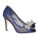 JOLIE-14 Ladies Lace Peep Toe High Heel with Rhinestone Detail
