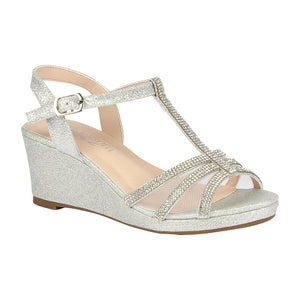 K-CHRISTY-44 Kid's Low Wedge with Rhinestones