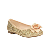 K-HARPER-48 Kid's Glitter Flat with Rose Detail
