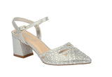 LOTTIE-2 Ladies Rhinestone Detail Pointed Toe Low Heel