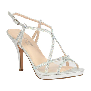 ROBIN-273 Strappy Mid Heel with Rhinestone Edge Detail