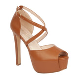 SARENA-7 Women's PU Vegan Leather Platform Heel
