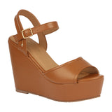 WHITNEY-20 Women's PU Vegan Leather High Wedge