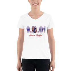 Women's Casual V-Neck Shirt  9.11.01 Never Forget