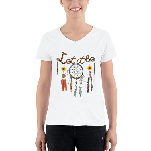 Women's Casual V-Neck Shirt  Let it be
