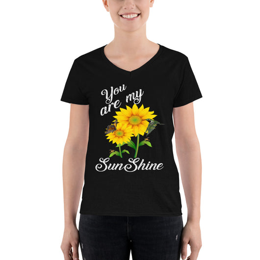 Women's Casual V-Neck Shirt  You are my SunShine