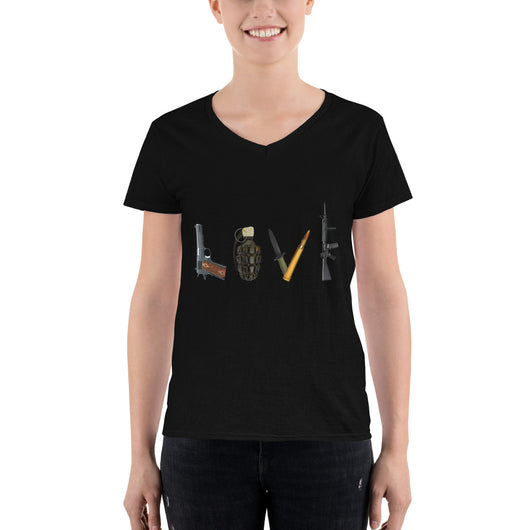 Women's Casual V-Neck Shirt  LOVE Weapons