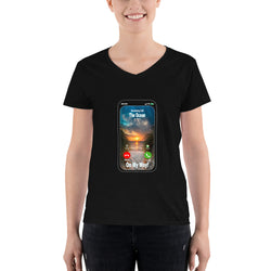Women's Casual V-Neck Shirt   The Ocean is calling On My Way