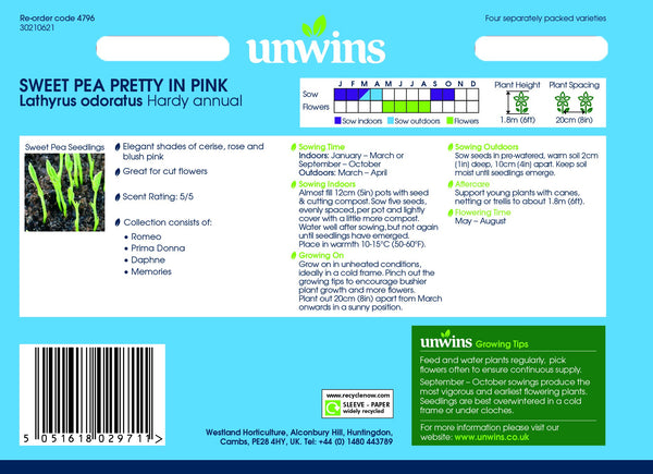 Unwins Sweet Pea Pretty in Pink Collection Pack