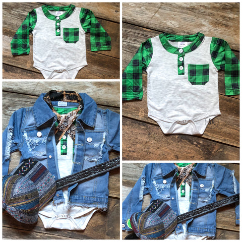 Green Plaid Bodysuit