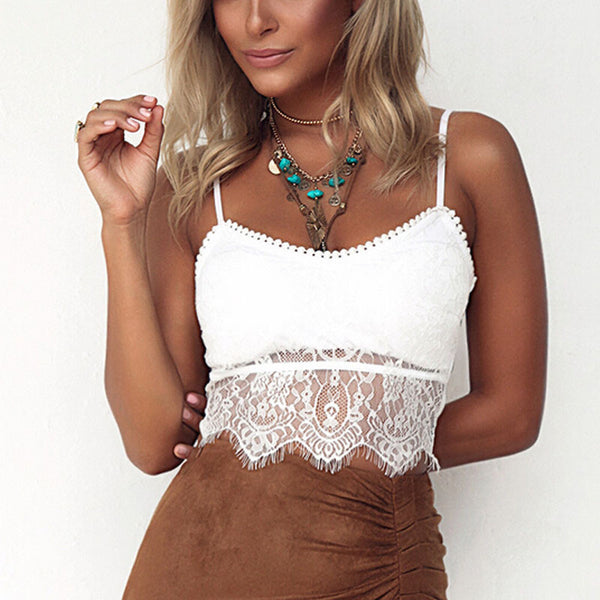 Elegant White Lace Crop Top