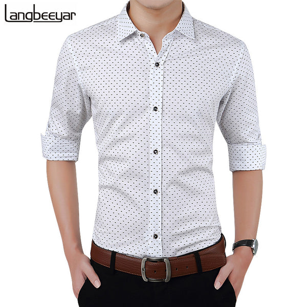 2017 New Autumn Men Slim Fit Long Sleeve Shirt Polka Dot