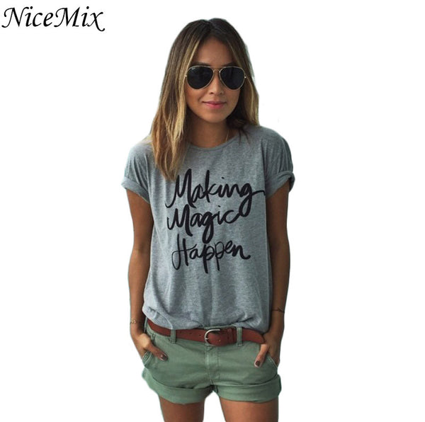 NiceMix T-shirt Printed Magic Letters Loose  Fashion Short Sleeve Loose