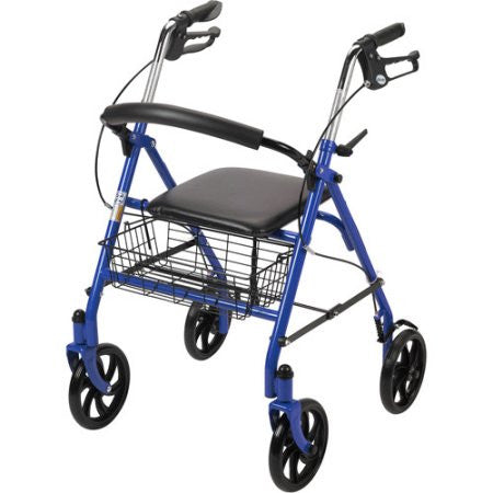 MobilityStuff Blue Four Wheel Walker Rollator with Fold Up Removable Back Support
