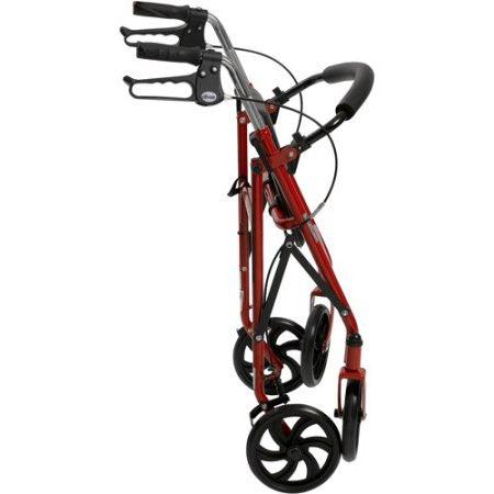 MobilityStuff  Four Wheel Walker Rollator with Fold Up Removable Back Support on Red color