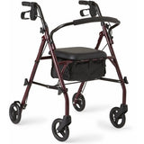 MobilityStuff Rollator Walker Burgundy color with 350 lbs Capacity