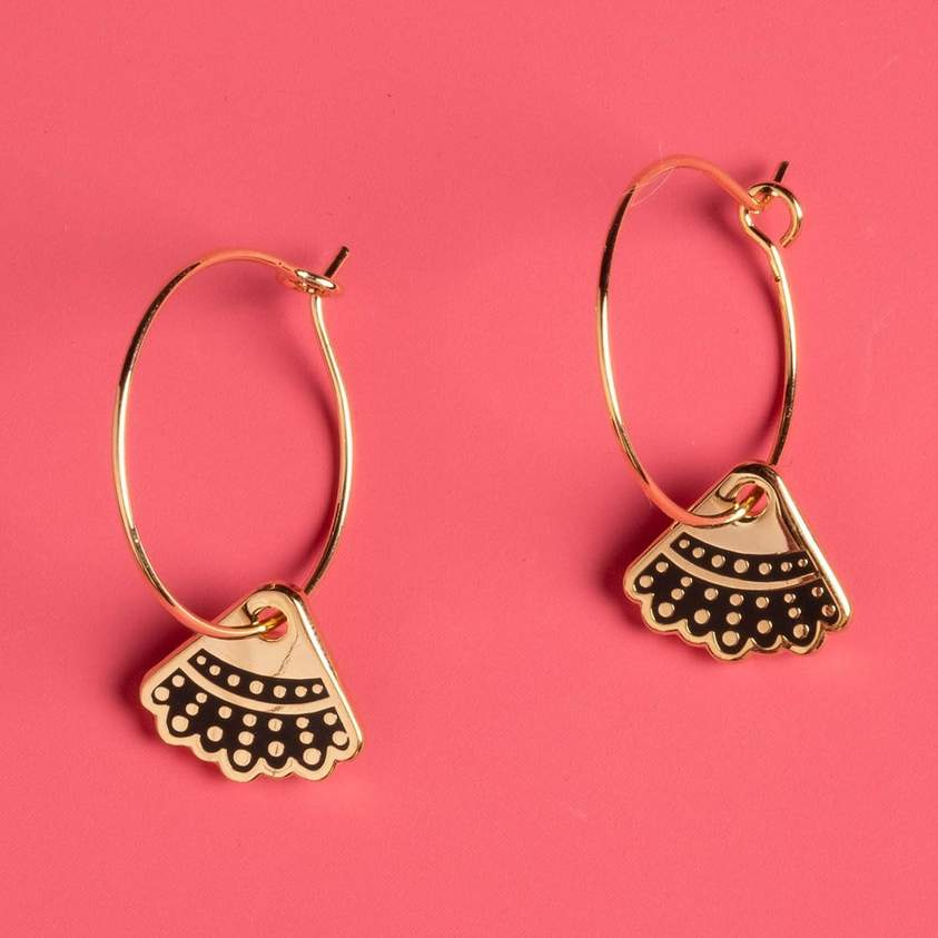 Dissent Collar Hoop and Charm Earrings - 24k Gold Plated