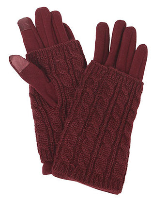 Cable Knit Smart Touch Gloves in Burgundy