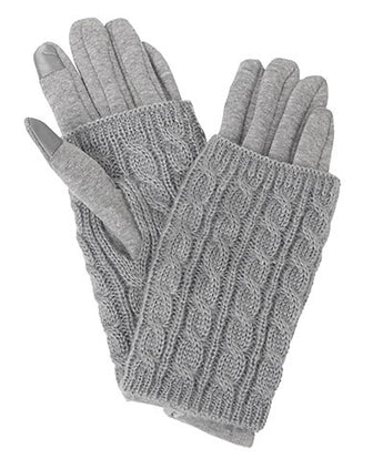 Cable Knit Smart Touch Gloves in Grey