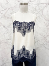 Beatrice Camisole in Ivory with Navy Contrast Lace