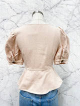 Martha Scoop Neck Blouse in Peach