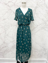 Letitia Wrap Dress in Green Floral