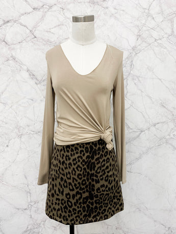 Brenda Mini Skirt in Olive Leopard - FINAL SALE