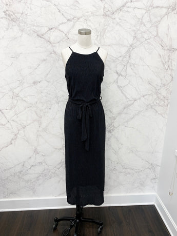 Montague Plisse Dress in Black
