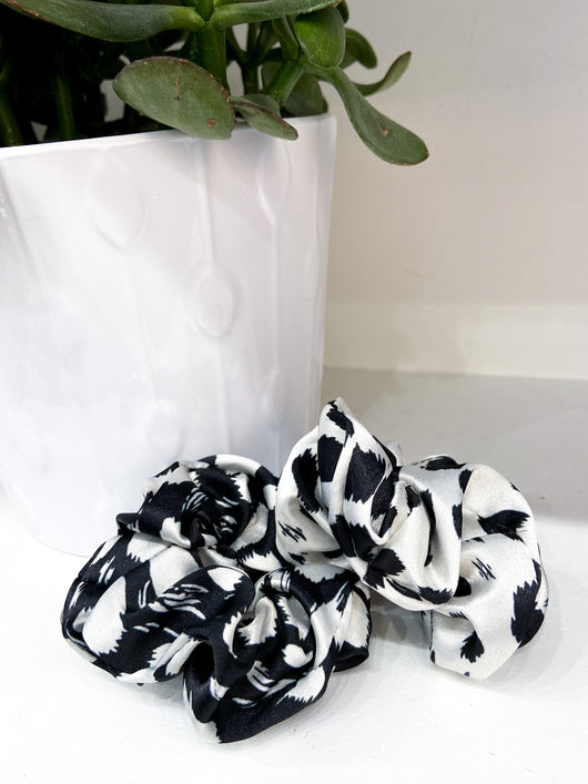 Neutral Cheetah Satin Scrunchie