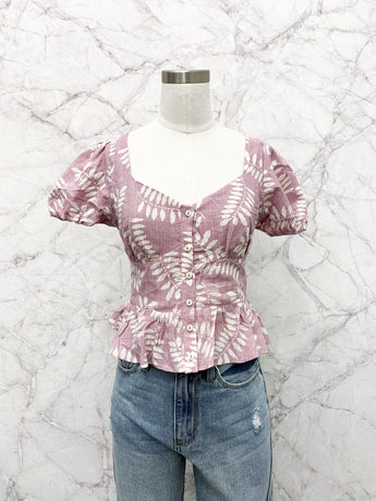 Charlize Button Up Ruffle Top in Purple